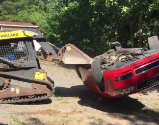 A father destroyed the car of his son